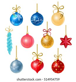 Christmas tree decorations isolated on white background vector illustration set. Winter Holidays and Celebrations concept. Balls, star, icicle decor.