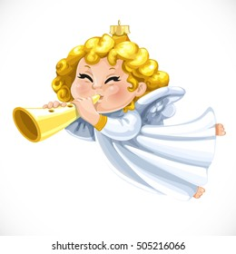 Christmas tree decorations toy little blond angel blow the trumpet  isolated on white background