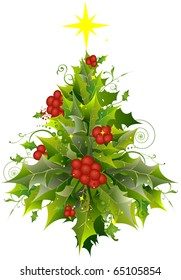 Christmas Tree Design Featuring a Cluster of Holly and Poinsettia