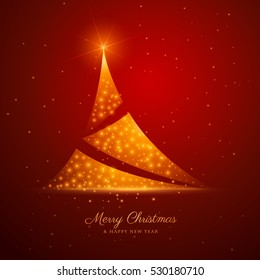 christmas tree design with golden sparkles on red background