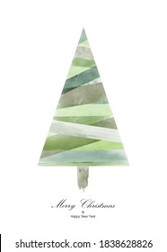 Christmas tree design with green watercolor on white background