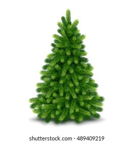 Christmas tree, detailed vector illustration