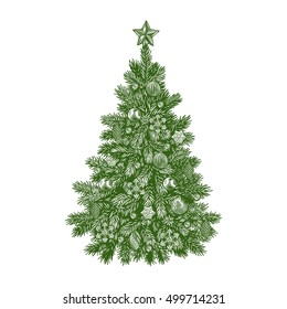Christmas tree, detailed vintage vector illustration