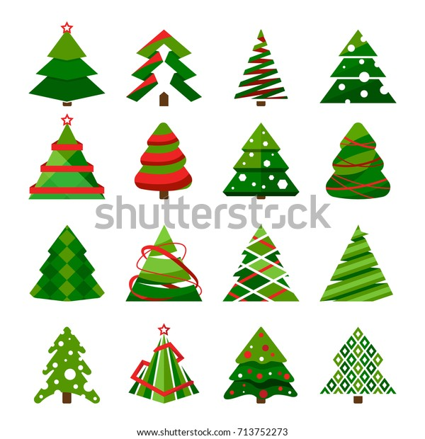 Christmas tree in different styles. Vector set of stylized illustration. Christmas tree collection for holiday xmas and new year