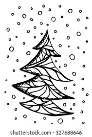Christmas tree doodle seamless pattern background
