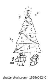 christmas tree drawing design cartoon
