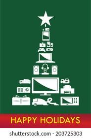 Christmas Tree Electronics Vector. Reversed on dark green.