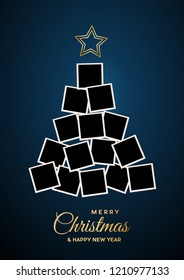 Christmas tree with empty photos, space to insert images. Vector illustration