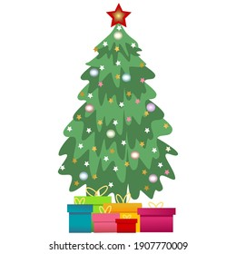 Christmas tree. Evergreen tree with decorations and gifts. Christmas and New Year celebration concept. Cartoon style, colorful drawing.