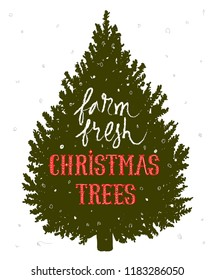Christmas tree farm grunge rubber stamp on white background, vector illustration. Hand drawn lettering vintage sign calligraphy. Stars and branch fir-tree gold.