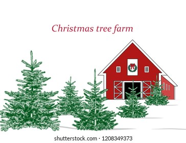 Christmas tree farm. Landscape with Christmas trees and farm. Vector vintage illustration. Color sketch.