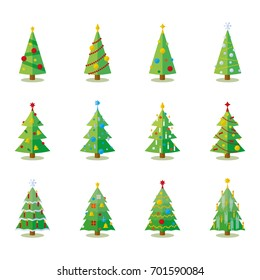 Christmas tree flat design collection. Set of 12 vector christmas trees with varying decoration