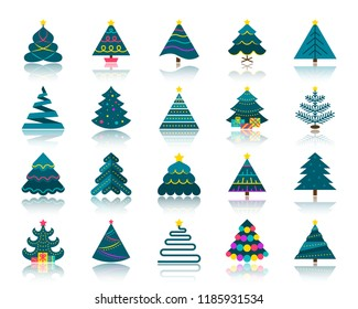 Christmas Tree flat icons set. Web vector sign kit of stylized spruce. Fir Farm pictogram spruce, star decoration, ball. Simple christmas tree colorful cartoon icon symbol reflection isolated on white