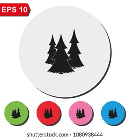 Christmas tree flat round colorful vector icon.