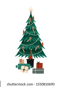 Christmas tree flat vector illustration. Wrapped presents near green spruce decorated with candles, garlands, candy canes. Winter holidays design element. Traditional Xmas celebration symbol.