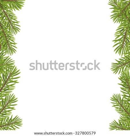 Christmas Tree Frame Isolated On White Stock Vector (Royalty Free ...