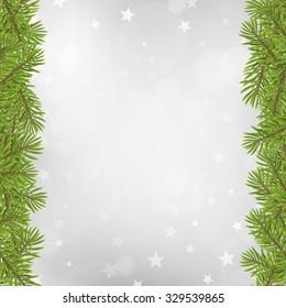 Christmas tree frame on blurred silver star background. vector illustration.