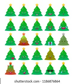 Christmas tree funny emoticons set. Joy, love, laugh, happy and sad green fir tree with decoration emoji symbols. Merry Christmas and happy new year vector elements. Smiley face with facial expression