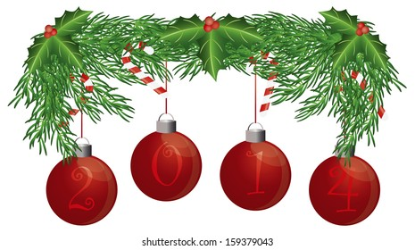 Christmas Tree Garland with 2014 Ornaments Holly Berries Leaves and Candy Cane Isolated on White Background Vector Illustration