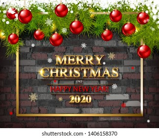 Christmas tree garland on the background of an old brick empty wall. Christmas balls on the garland. Sparks, neon spotlight, illuminated Christmas. Merry Christmas and happy new year 2020