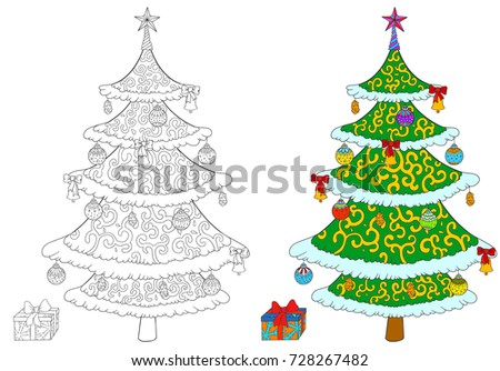 christmas tree with gift box coloring book isolated on white vector stock illustration of tree
