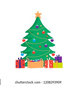 Christmas tree with gift boxes, star, decoration balls