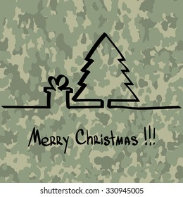 Christmas tree with a gift, hand drawn one line at camouflage pattern military background