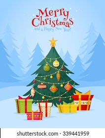 Christmas tree with gifts winter celebration postcard for season's greetings holidays and new year