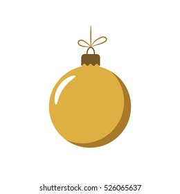 Christmas tree gold ball with bow. Golden bauble decoration, isolated on white background. Symbol of Happy New Year, Xmas holiday celebration, winter. Flat design for card. Vector illustration