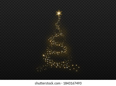 Christmas tree gold bokeh glitter particles isolate on png or transparent  background with sparkling  snow, star light  fo , New Year, Birthdays, Special event, luxury card,  rich style.