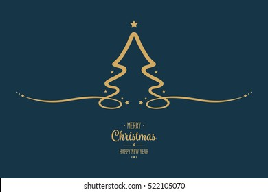 christmas tree gold stars blue background