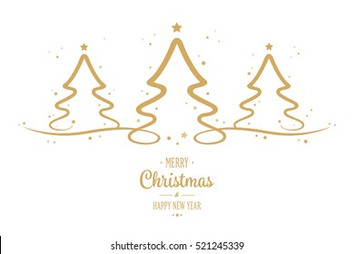 christmas tree gold stars greetings white background