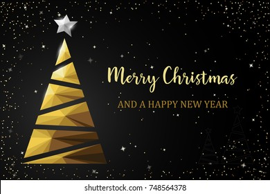 Christmas tree golden polygon card