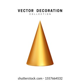 Christmas tree golden sharp cone shapes decorative. Xmas object isolated on white background