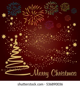 Christmas Tree with golden Stars on red background, vector illustration.