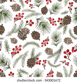 Christmas tree green branches,pine cone ,red berries in seamless pattern background.Fir,spruce design element for backdrop,wallpaper,wrap.New year holiday vector
