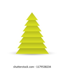 Christmas tree of green layered triangles on white background. 3D vector illustration with dropped shadow.