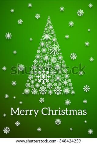 Christmas Tree Green Poster Snowflakes Made Stock Vector