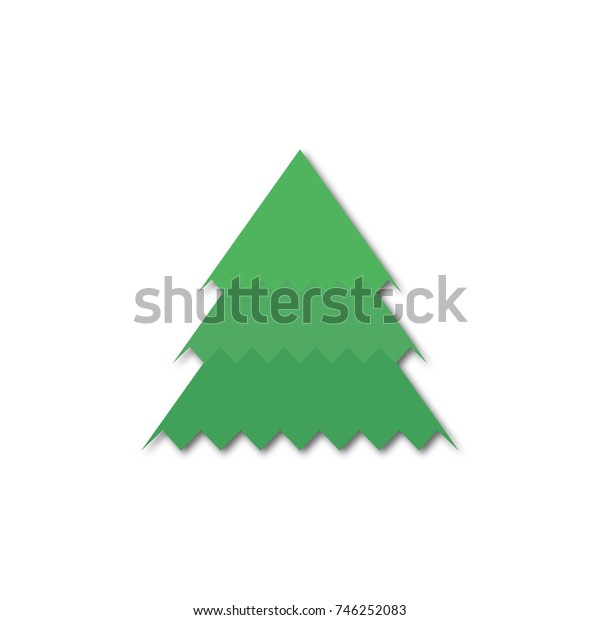 Christmas tree green with shadow. Merry Christmas and Happy New Year. happy holiday. white background. abstract vector illustration.