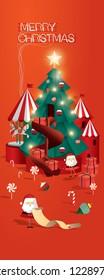 christmas tree greetings template vector/illstration