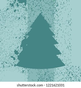 Christmas tree as a grunge aged illustration in green colors. Vector