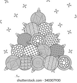 Christmas tree. Christmas hand drawn decorative elements in vector. Pattern for coloring book. Christmas balls. Black and white pattern. Can be used for web page background, postcard, card, poster.