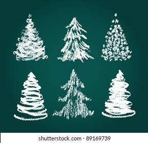 Christmas tree hand drawn set