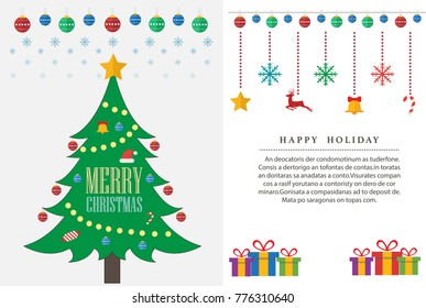 Christmas Tree and Happy New Year. Illustration template for greeting card.