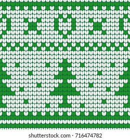 Christmas Tree and Heart Knitted Seamless Pattern - Great for Christmas and Winter Projects, Wrapping Paper, Backgrounds, Wallpapers.
