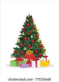 Christmas tree and holiday gifts. Fir-tree decorated with balls  Vector illustration.