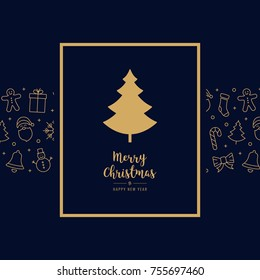 christmas tree icon card elements golden text greeting frame blue background