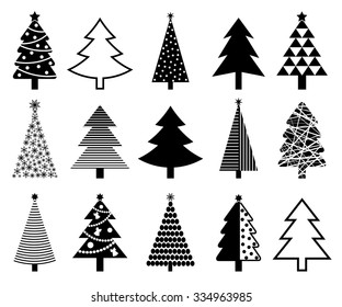 Christmas tree icon collection. Isolated on white background. Vector illustration