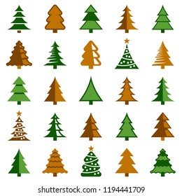 Christmas tree icon collection - vector color illustration