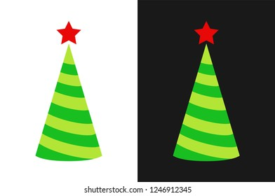 Christmas tree icon in form of holiday cap isolated on white and black color, Vector illustration new year illustration.